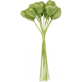 Coeurs pailletés verts sur tige les 12