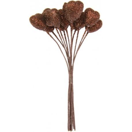 Coeur chocolat pailleté sur tige les 12