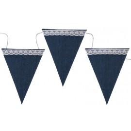 Guirlande fanions bleu jean en coton 237 cm