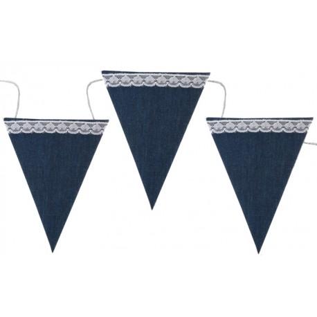 Guirlande fanion bleu jean en coton 237 cm