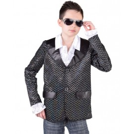 Déguisement veste noire à paillettes garçon luxe