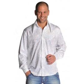 Déguisement chemise disco blanche à paillettes homme luxe