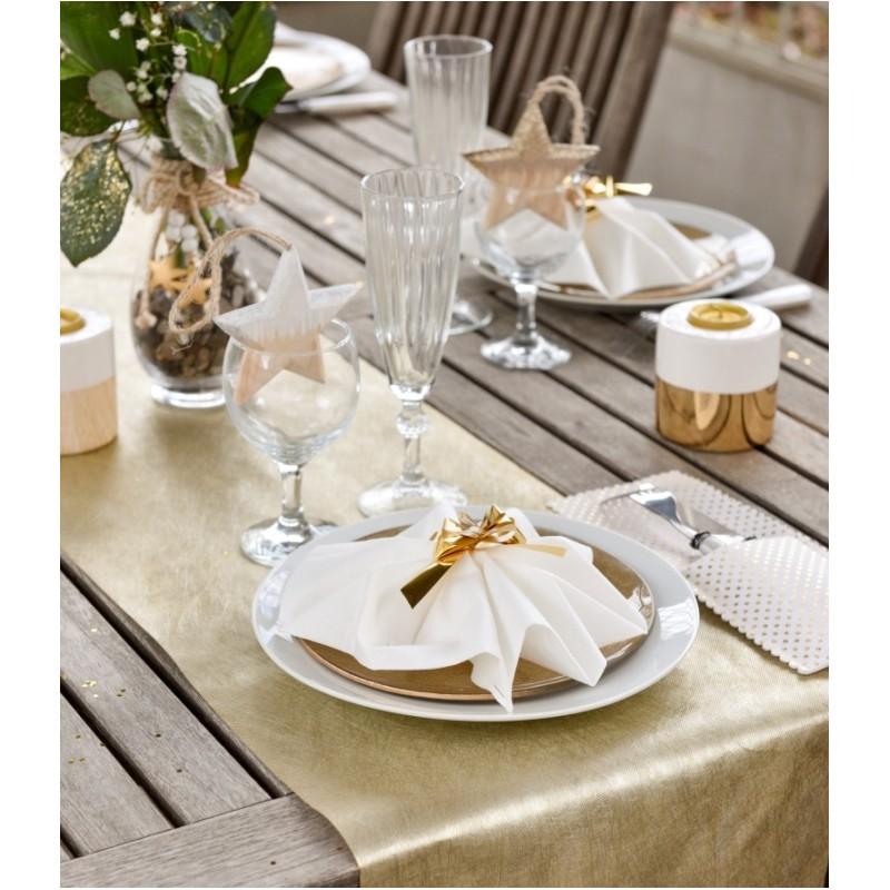 Chemin de table intiss or m tallis achat chemins de table d co de table for Chemin de table or