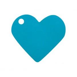 Etiquettes coeur turquoise les 10