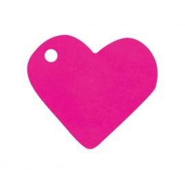 Etiquettes coeur fuchsia les 10
