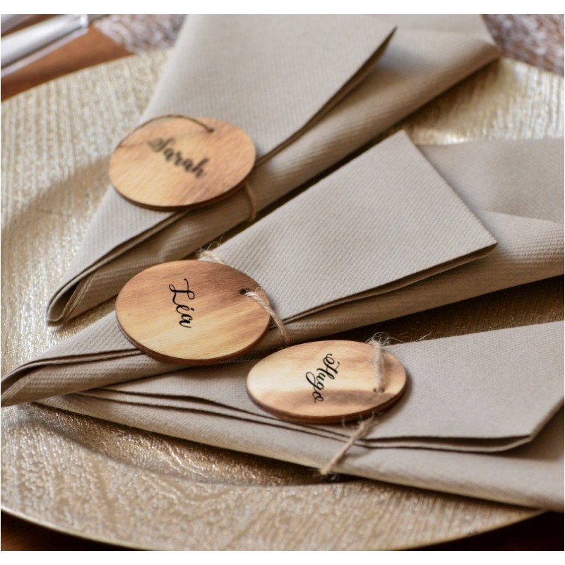 etiquette ronde en bois br l avec cordon les 4 etiquettes en bois brul. Black Bedroom Furniture Sets. Home Design Ideas