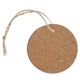 Etiquette ronde en bois liège avec cordon les 4