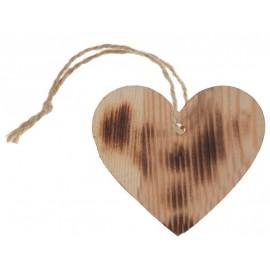 Etiquette coeur en bois brûlé avec cordon les 4