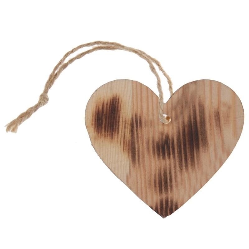etiquette coeur en bois br l avec cordon les 4 etiquettes en bois. Black Bedroom Furniture Sets. Home Design Ideas