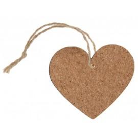 Etiquette coeur en bois liège avec cordon les 4