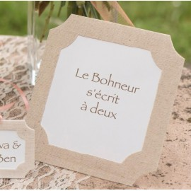 Marque-table cadre naturel coton et papier 16 cm