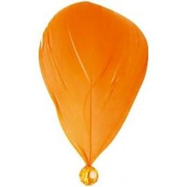 Plume orange avec perle 8 cm les 6