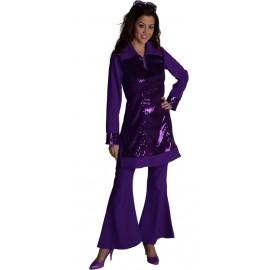 Déguisement pantalon disco violet femme luxe