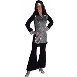 Déguisement pantalon disco noir femme luxe