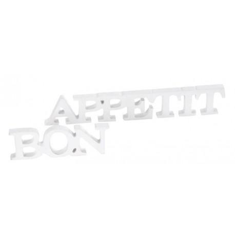 Mots Bon appétit en bois blanc