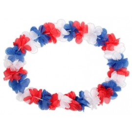 Collier hawaïen bleu-blanc-rouge