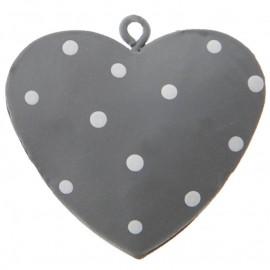 Coeur métal gris à pois 4 cm les 4