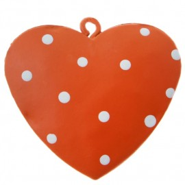 Coeur métal orange à pois 4 cm les 4