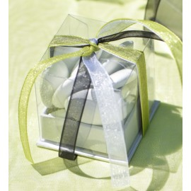 Boîte à dragées cube blanc les 4