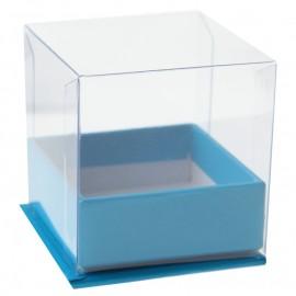 Boîte à dragées cube turquoise les 4