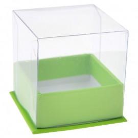 Boîte à dragées cube vert les 4