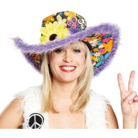 Chapeau flower power hippie lilas femme