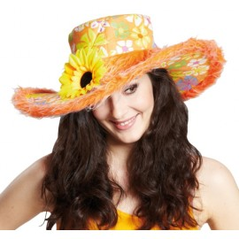 Chapeau flower power hippie orange femme