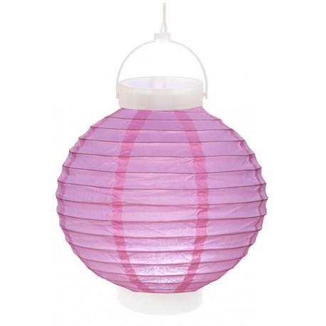Lampion lumineux boule papier parme 20 cm