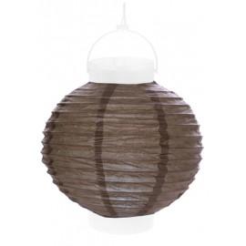 Lampion lumineux boule papier taupe 20 cm