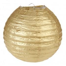 Lanterne boule papier or 20 cm les 2