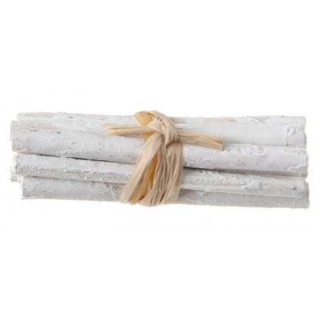 Fagot de bois blanc déco 6 cm les 4