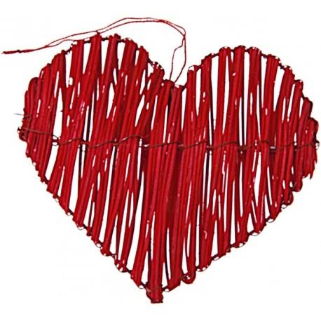 Coeur en rotin rouge déco les 2