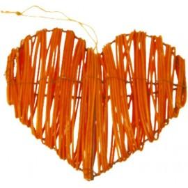 Coeur en rotin orange déco les 2