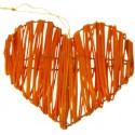 Coeurs en rotin orange déco les 2