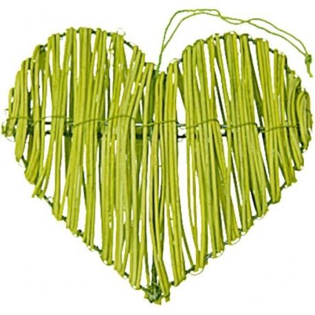 Coeur en rotin vert anis déco les 2