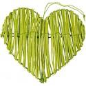 Coeurs en rotin vert anis déco les 2