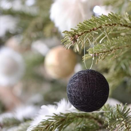 Boule coton noir déco 5 cm les 4