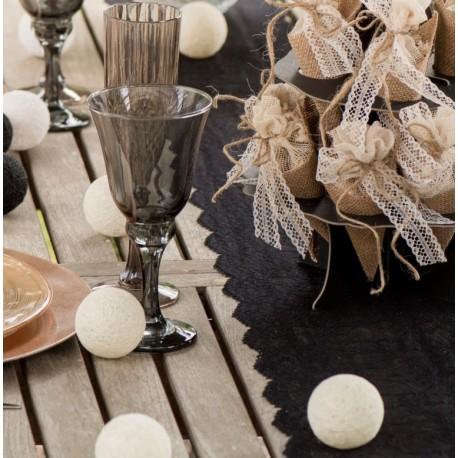 Boule coton ivoire déco 5 cm les 4