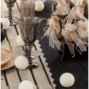 Boules coton ivoire déco 5 cm les 4