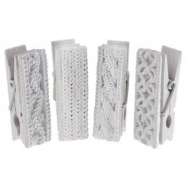 Pince tricot en bois blanc déco les 4