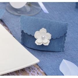 Pochette à dragées coton jean bleu clair les 4