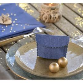 Pochette à dragées coton jean bleu les 4