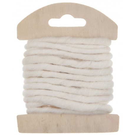 Cordon laine blanche 4 mm x 3 M