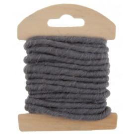 Cordon laine grise 4 mm x 3 M