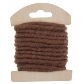 Cordon laine chocolat 4 mm x 3 M
