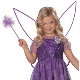 Ailes de fée violettes avec baguette de fée enfant