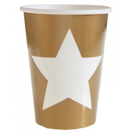 Gobelet carton or étoile blanche les 10