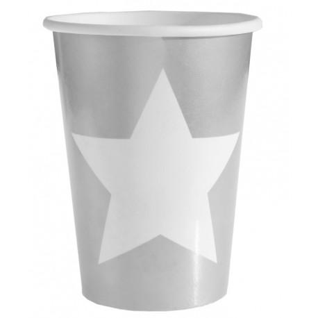 Gobelet carton argent étoile blanche les 10