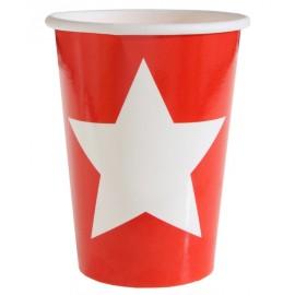 Gobelet carton rouge étoile blanche les 10