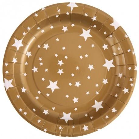 Assiette carton or étoiles blanches 22.5 cm les 10